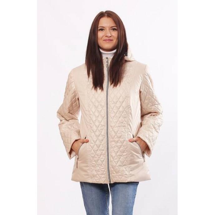 Женская куртка комбинированная бежевая ОСН4031