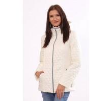 Комбинированная куртка женская цвета ваниль ОСН4022