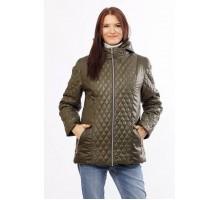 Женская удобная куртка комбинированная цвета хаки ОСН4024