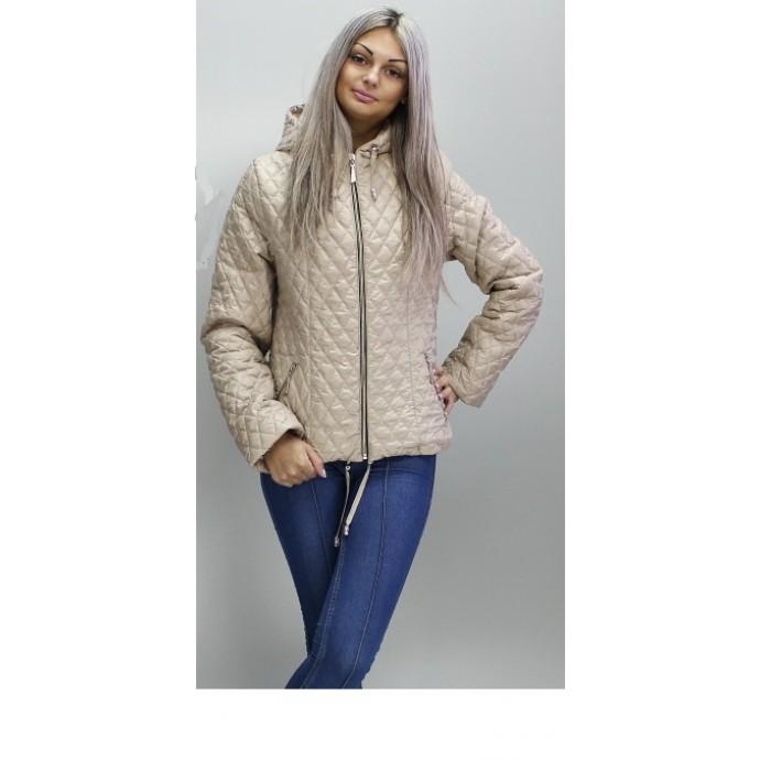 Короткая бежевая стеганая куртка больших размеров ОСН60010-3