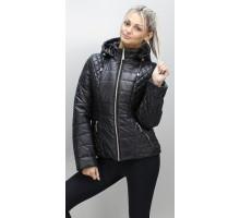 Черная весенняя куртка женская короткая ОСН6007-1