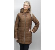 Куртка недорогая весенняя из плащевки коричневая ОСН6009-4