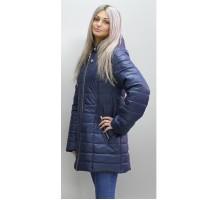 Куртка весенняя темно-синяя с вшитым капюшоном ОСН6009-5