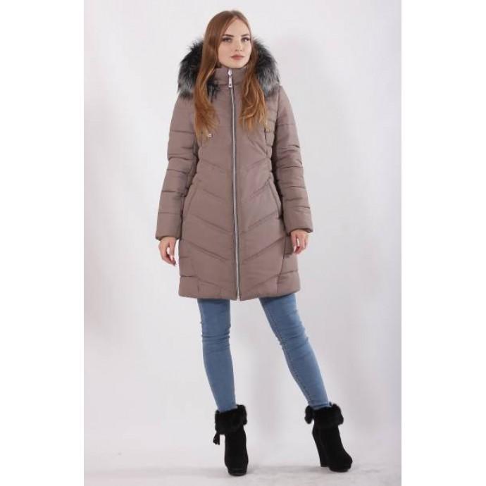 Зимняя куртка батал с мехом цвета кофе ОСН77704