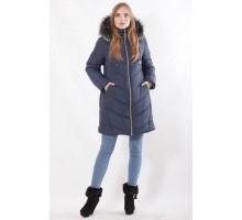 Синяя молодежная зимняя куртка приталенного силуета  ОСН77709