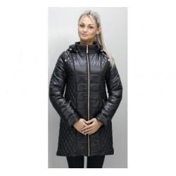Черная куртка модная с отстегным капюшоном ОСН6005