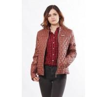 Коричневая женская куртка из плащовки ОСН902260