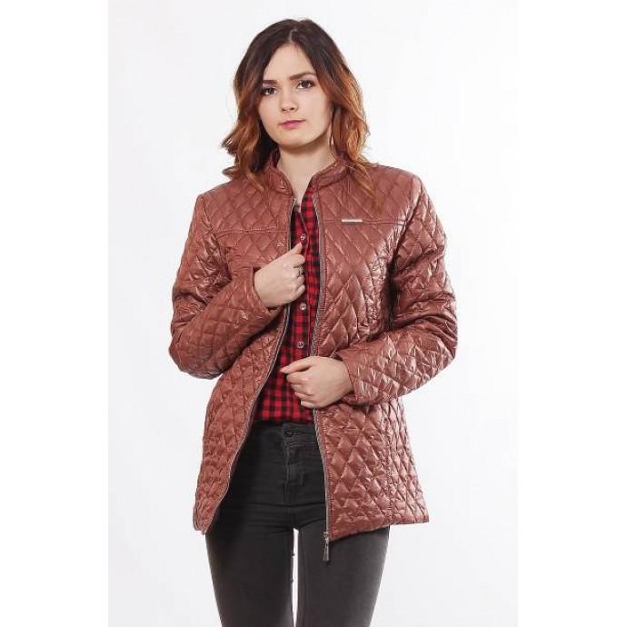 Женская куртка комфортная без капюшона коричневая ОСН902277