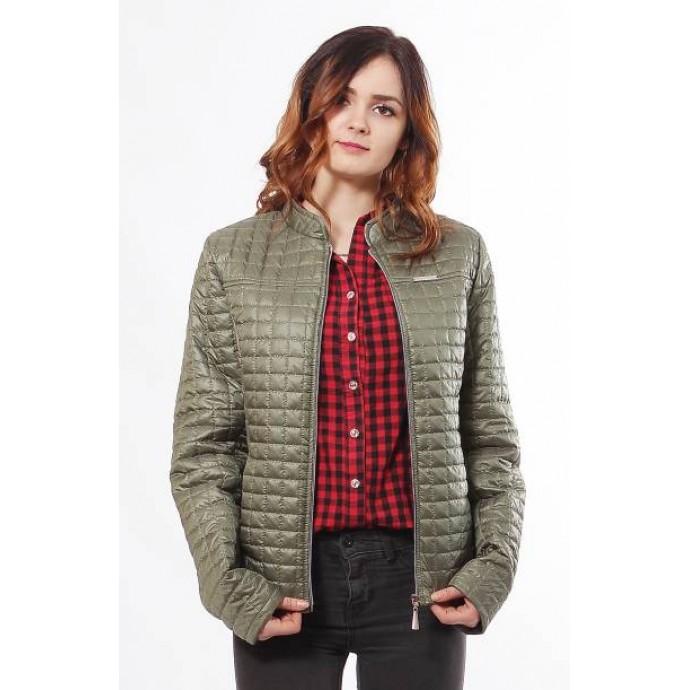 Женская куртка с двумя врезными карманами цвета хаки ОСН902243