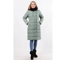Оливковая куртка женская очень теплая с карманами на молнии ОСН77707