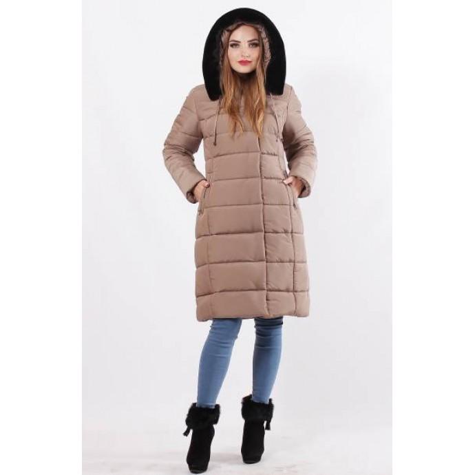 Кофейная зимняя куртка с искусственным мехом ОСН77706