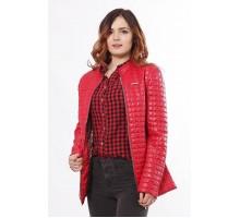 Красная женская куртка с двумя карманами на молнии ОСН902257