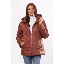 Женская модная комбинированная куртка коричневая ОСН4027