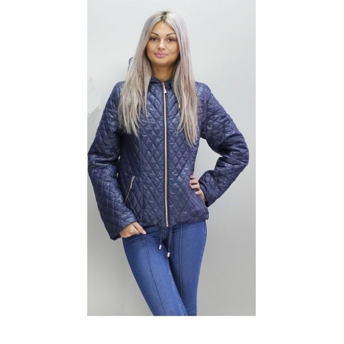 Весенняя стеганая куртка 40-74 размеры КС-2 Темно -синяя ОСН60010