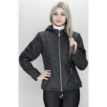 Куртка модная черная на молнии ОСН60012-1