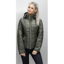 Красивая куртка больших размеров весенняя цвета хаки ОСН6007-3