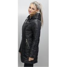 Куртка весенняя черная длинная ОСН6009-1
