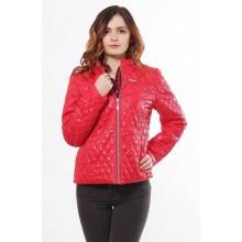 Красная женская куртка весенняя с карманами на молнии ОСН902263