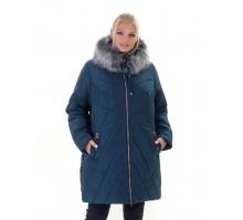 Зимний тёплый пуховик больших размеров с мехом ЛАНА77043-138
