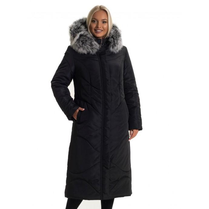 Женский черный пуховик с натуральным мехом ЛАНА77033-135