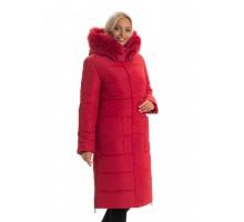Красный женский пуховик с натуральным мехом ЛАНА77068-137