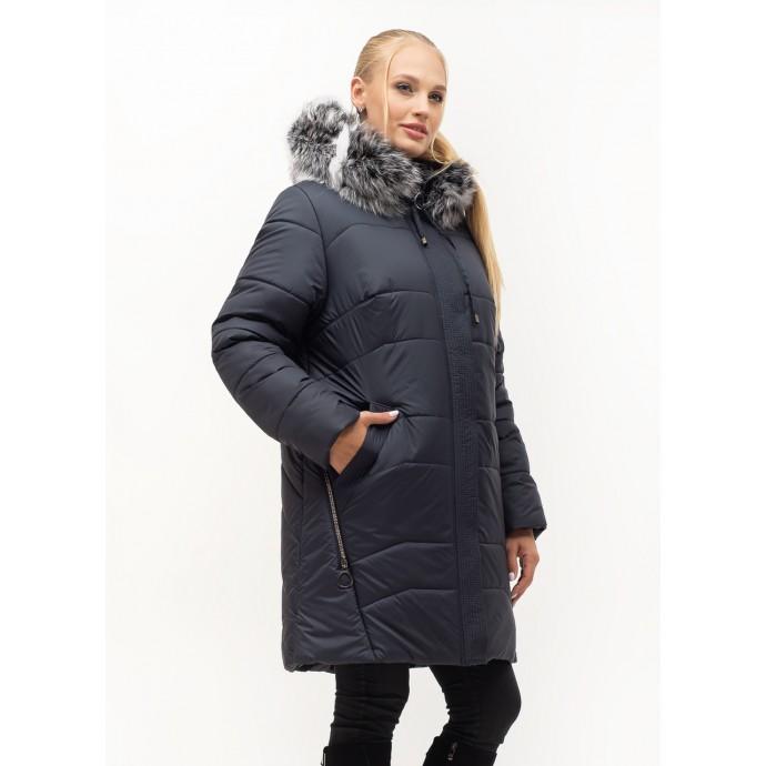 Женский модный пуховик с натуральным мехом ЛАНА62S-154