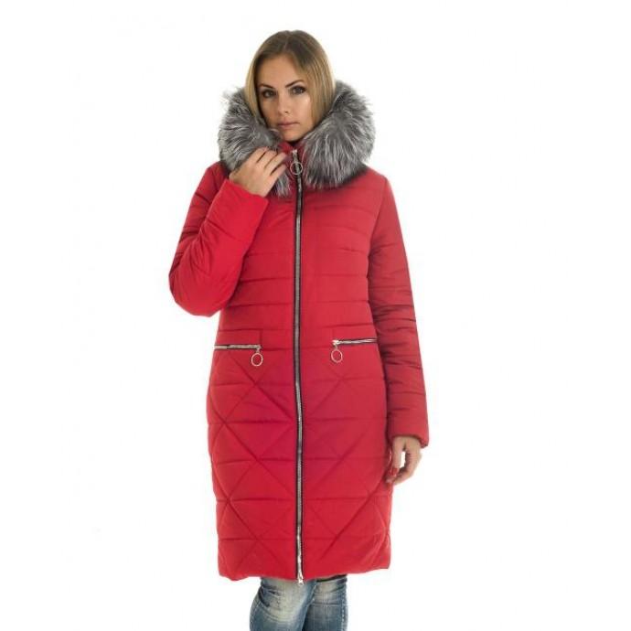 Женский красный зимний пуховик ЛАНА6635-52