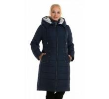 Синий зимний женский пуховик с капюшоном ЛАНА6668-48-1