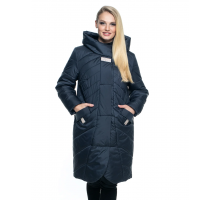 Длинная весенняя куртка синего цвета лана12r-106
