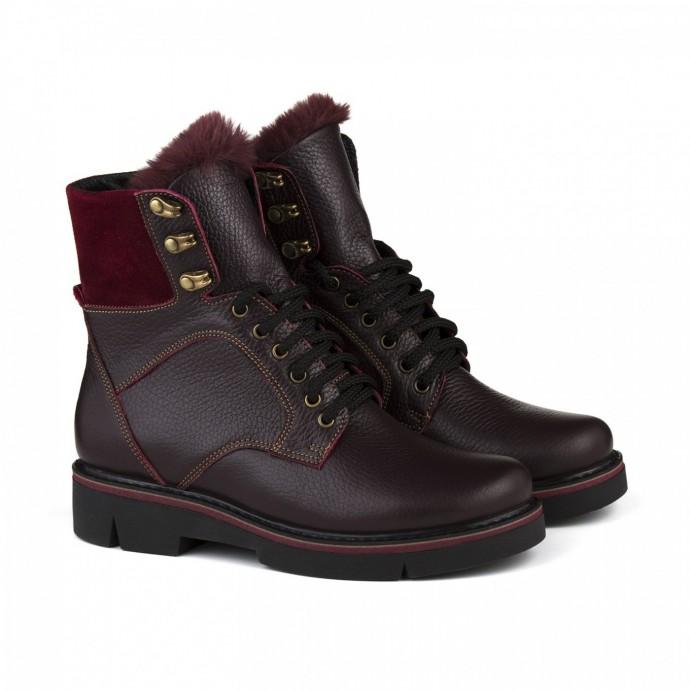 Бордовые зимние ботинки на шнуровке с языком из меха КИРА1190-Astra-18
