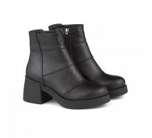Кожаные зимние ботиночки на массивном каблуке КИРА1189-52401z