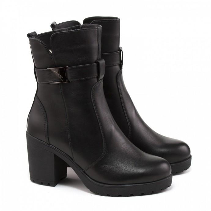 Зимние кожаные ботинки на каблуке КИРА1180-620-01