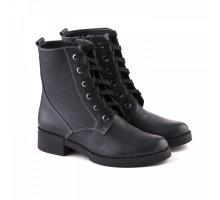 Кожаные ботинки на шнуровке синие КИРА1182-2517-05с