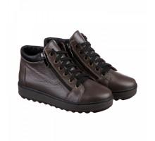 Короткие кожаные ботинки на зиму КИРА1154-vm-0515-01besh
