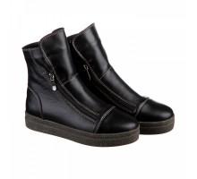 Черные кожаные ботинки с молниями КИРА1153-VM-lusi-05ch