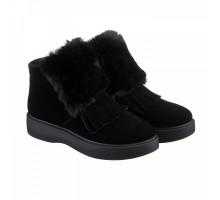 Замшевые ботинки с опушкой черные КИРА1186-0515-14ч