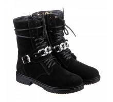 Черные замшевые ботинки с ремешком КИРА1150-vm-kim-02