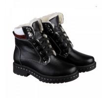 Черные кожаные ботинки на шнуровке КИРА1151-vm-astra-131ch