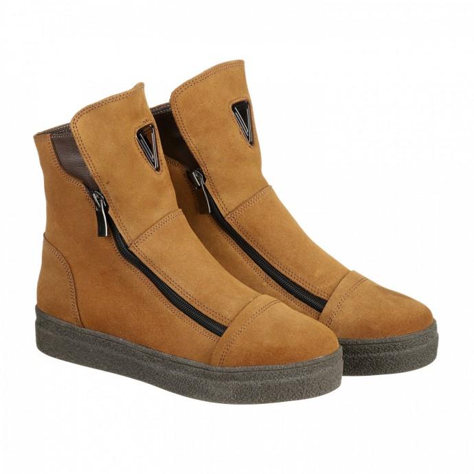 Замшевые рыжие ботинки зимние КИРА1188-Lusi-5