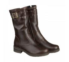 Кожаные коричневые сапоги на низком каблуке КИРА1121-vm-2517-01kor