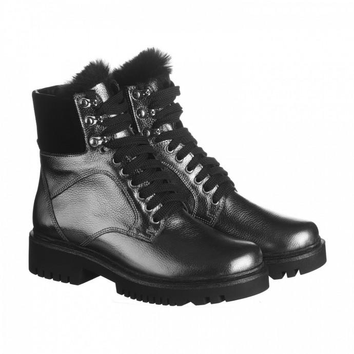 Кожаные серебряные ботинки с мехом КИРА1156-vm-astra-18ser