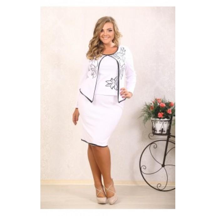 Костюм Лия молоко (жакет+юбка) (с вышивкой) ВМС 10013
