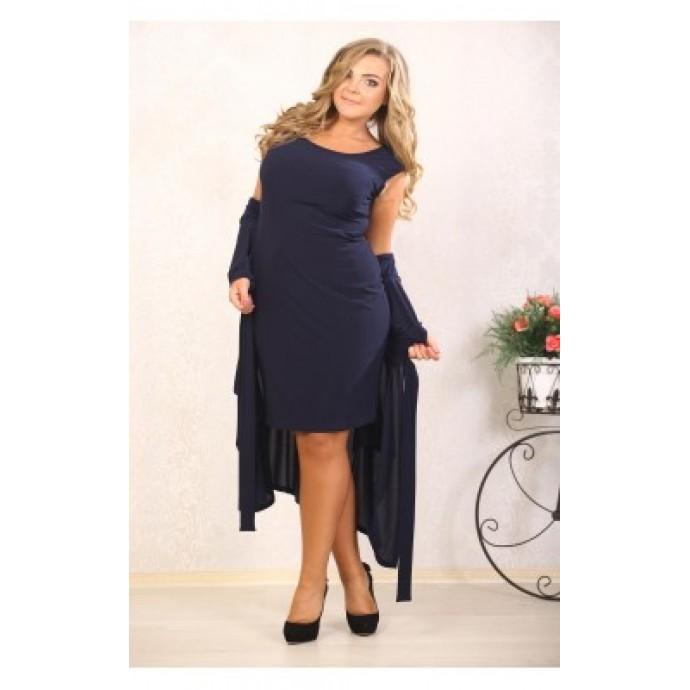 Костюм Белинда т-синий (платье+кардиган) ВМС 10004