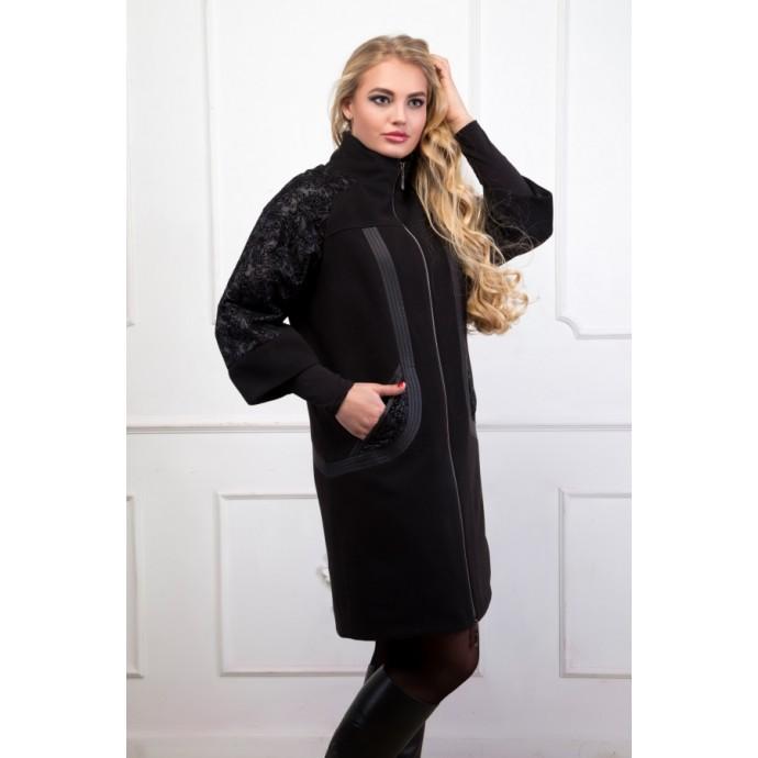 Стильное пальто АВОО 539черное