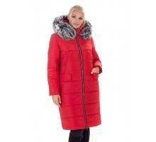 Красное женское пальто с мехом ЛАНА77054-133