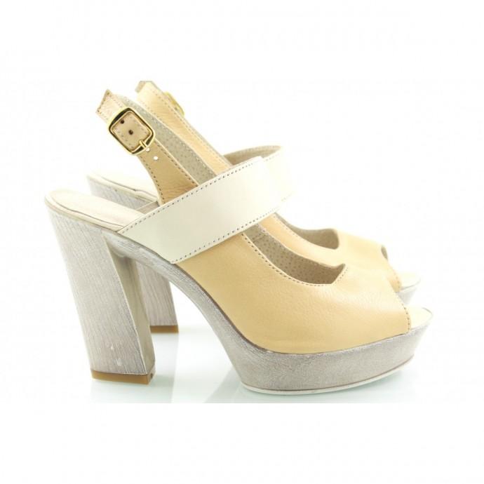 Босоножки кожаные на каблуке КИРА9407-8010-06Б