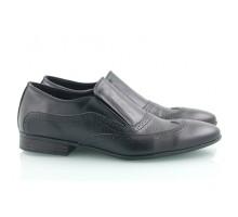 Черные кожаные мужские туфли КИРА8427-T-15