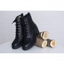 Демисезонные ботинки черного цвета на шнуровке КИРА1183-4017-04д