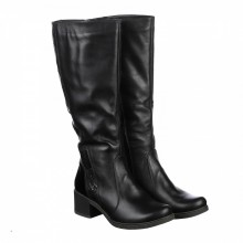 Демисезонные черные кожаные сапоги  КИРА114-6055-00pr