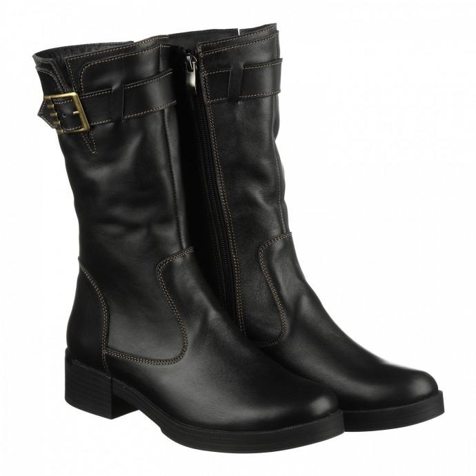 Кожаные сапоги черного цвета с декоративной пряжкой  КИРА1124-vm-2517-01ch
